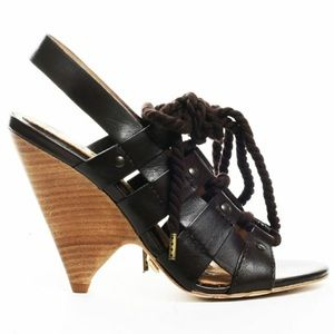 L.a.m.b. Trianna wedge tie up leather sandal 7.5